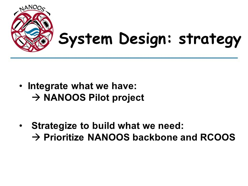 System Design: strategy Integrate what we have: NANOOS Pilot project Strategize to build what we need: Prioritize NANOOS backbone and RCOOS