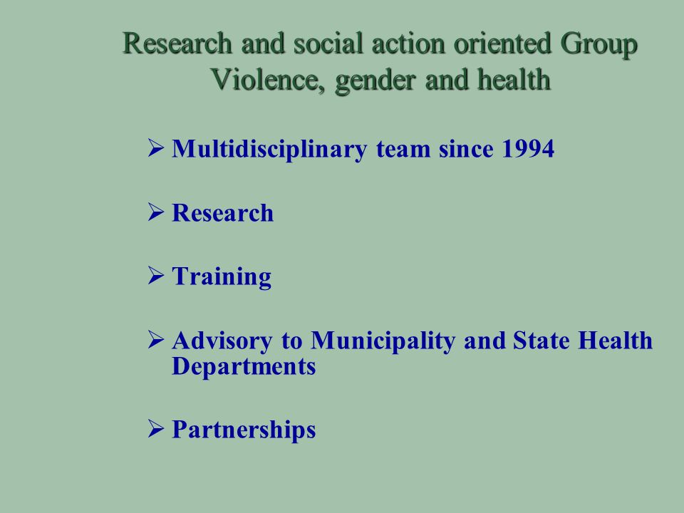Research and social action oriented Group Violence, gender and health Multidisciplinary team since 1994 Research Training Advisory to Municipality and State Health Departments Partnerships