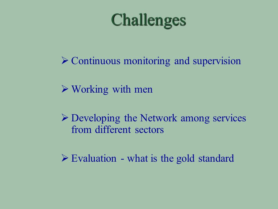 Challenges Continuous monitoring and supervision Working with men Developing the Network among services from different sectors Evaluation - what is the gold standard