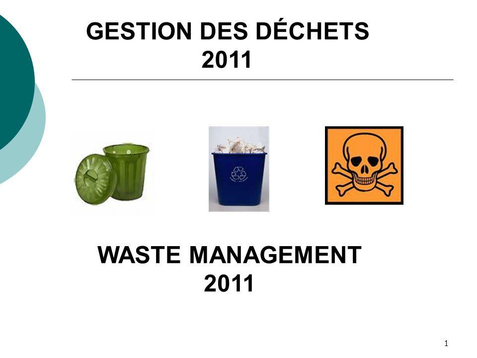 1 GESTION DES DÉCHETS 2011 WASTE MANAGEMENT 2011