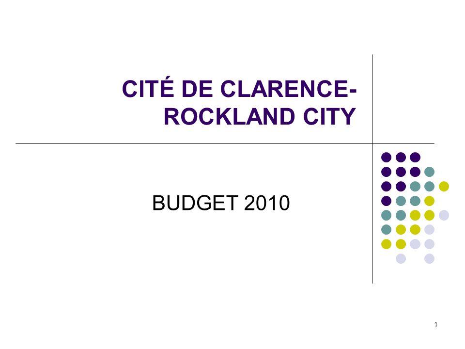 1 CITÉ DE CLARENCE- ROCKLAND CITY BUDGET 2010
