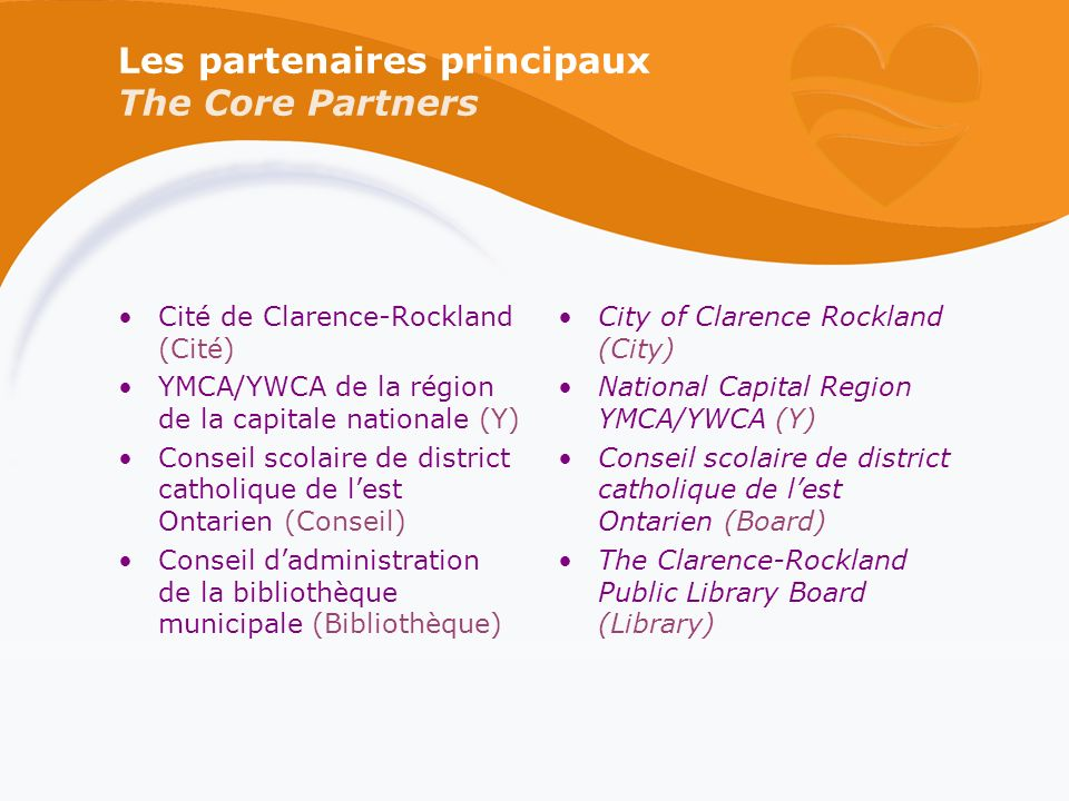 Les partenaires principaux The Core Partners Cité de Clarence-Rockland (Cité) YMCA/YWCA de la région de la capitale nationale (Y) Conseil scolaire de district catholique de lest Ontarien (Conseil) Conseil dadministration de la bibliothèque municipale (Bibliothèque) City of Clarence Rockland (City) National Capital Region YMCA/YWCA (Y) Conseil scolaire de district catholique de lest Ontarien (Board) The Clarence-Rockland Public Library Board (Library)