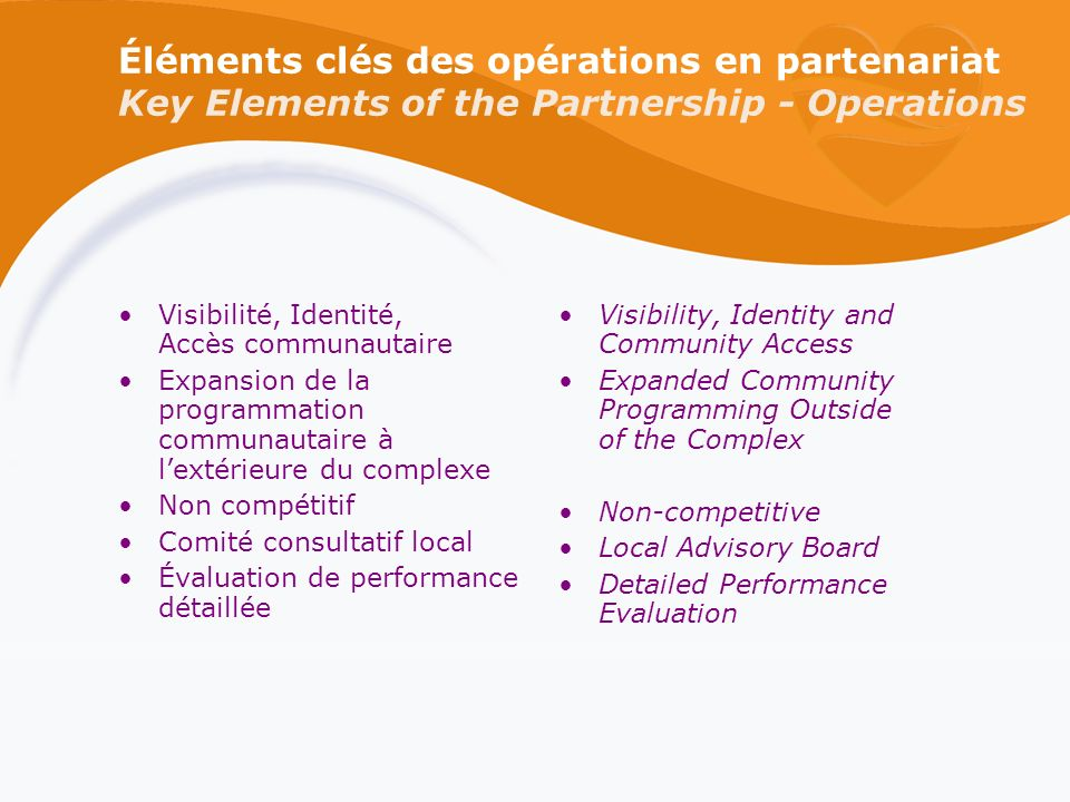 Éléments clés des opérations en partenariat Key Elements of the Partnership - Operations Visibilité, Identité, Accès communautaire Expansion de la programmation communautaire à lextérieure du complexe Non compétitif Comité consultatif local Évaluation de performance détaillée Visibility, Identity and Community Access Expanded Community Programming Outside of the Complex Non-competitive Local Advisory Board Detailed Performance Evaluation