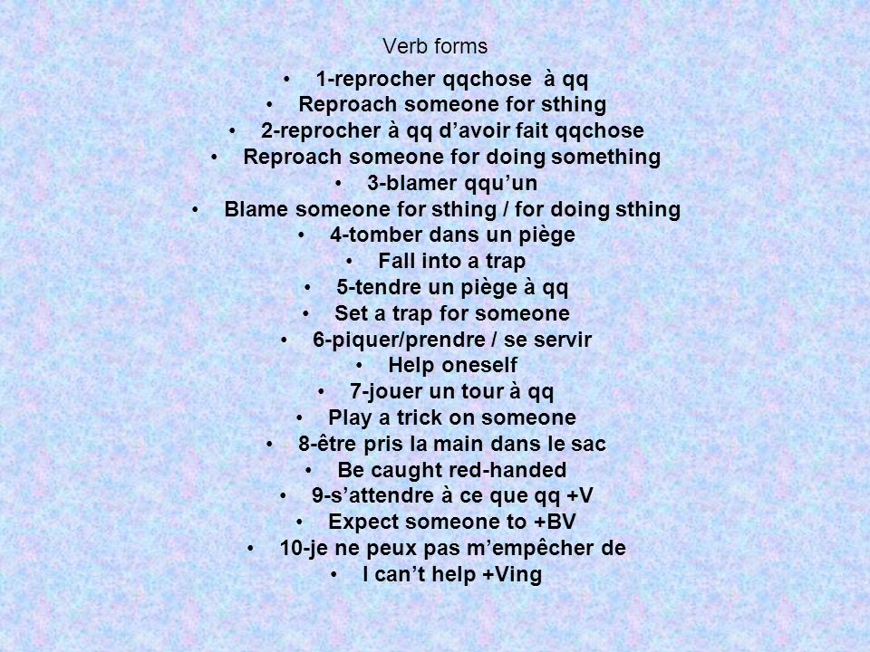 Verb forms 1-reprocher qqchose à qq Reproach someone for sthing 2-reprocher à qq davoir fait qqchose Reproach someone for doing something 3-blamer qqu