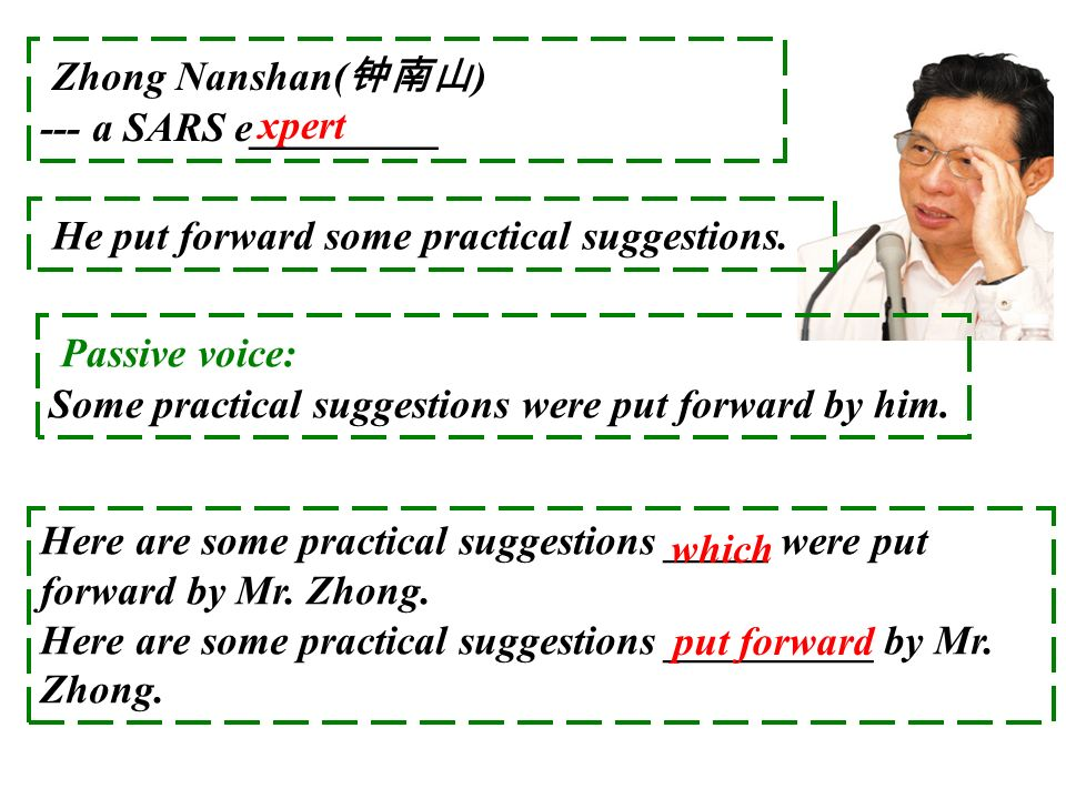 xpert Zhong Nanshan( ) --- a SARS e_________ He put forward some practical suggestions. Passive voice: Some practical suggestions were put forward by