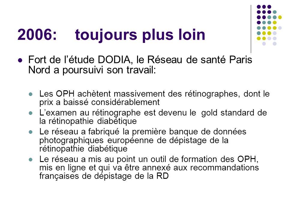 2006: toujours plus loin Fort de létude DODIA, le Réseau de santé Paris Nord a poursuivi son travail: Les OPH achètent massivement des rétinographes,