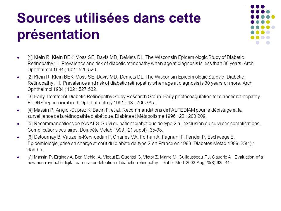 Sources utilisées dans cette présentation [1] Klein R, Klein BEK, Moss SE, Davis MD, DeMets DL. The Wisconsin Epidemiologic Study of Diabetic Retinopa