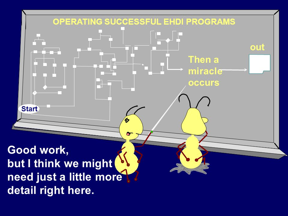 Good work, but I think we might need just a little more detail right here. OPERATING SUCCESSFUL EHDI PROGRAMS Then a miracle occurs out Start