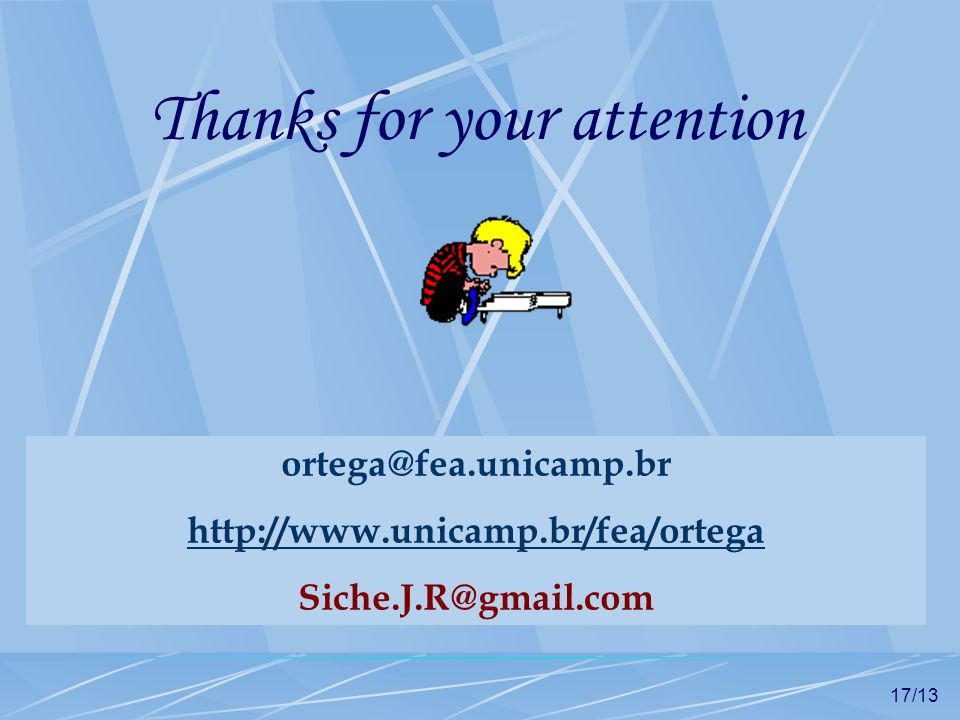 17/13 Thanks for your attention ortega@fea.unicamp.br http://www.unicamp.br/fea/ortega Siche.J.R@gmail.com