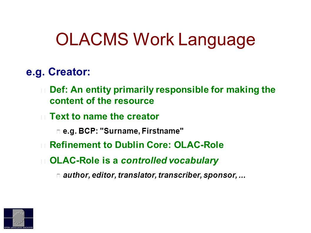 OLACMS Work Language e.g.