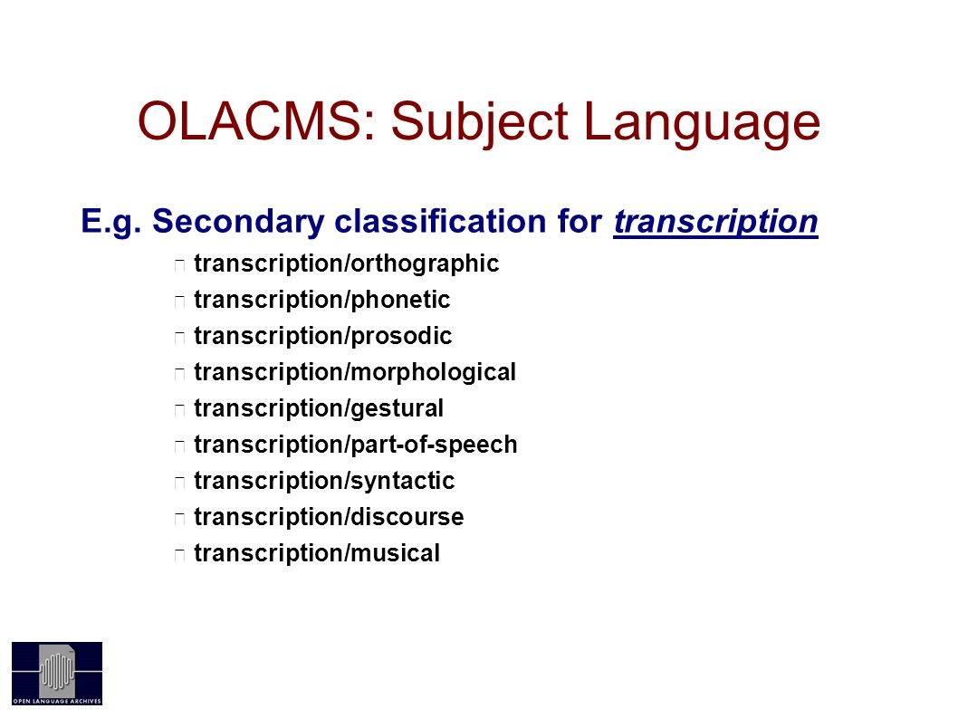 OLACMS: Subject Language E.g.