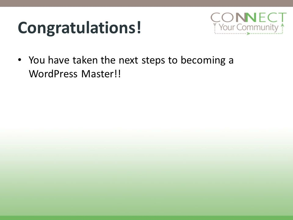 Congratulations! You have taken the next steps to becoming a WordPress Master!!