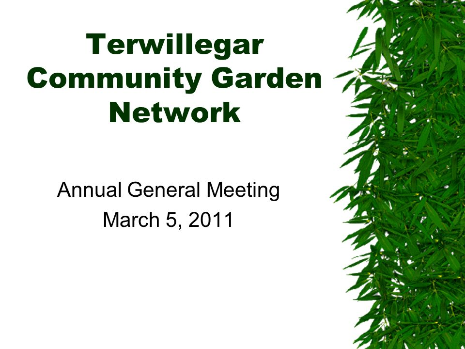 Agenda About the community garden Overview of 2010 accomplishments Volunteer recognition 2010 Board and responsibilities 2010 financials 2011 budget Lessons learned 2011 projects Plot assignment update Quiet Garden Board Election