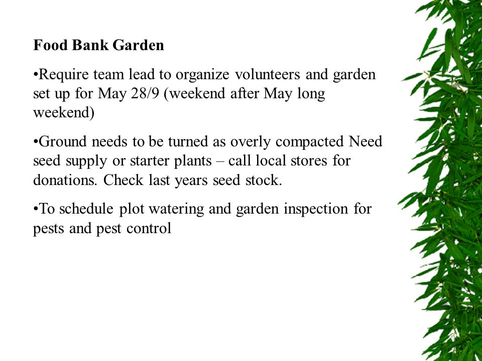 Food Bank Garden Require team lead to organize volunteers and garden set up for May 28/9 (weekend after May long weekend) Ground needs to be turned as