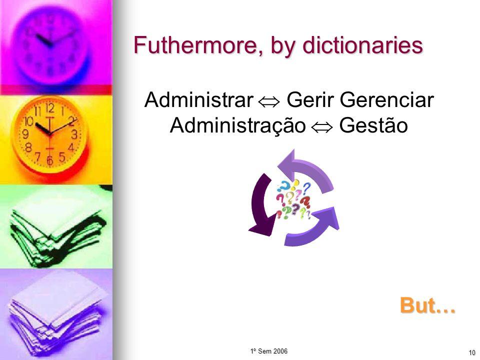 1º Sem 2006 10 Futhermore, by dictionaries Administrar Gerir Gerenciar Administração Gestão But…