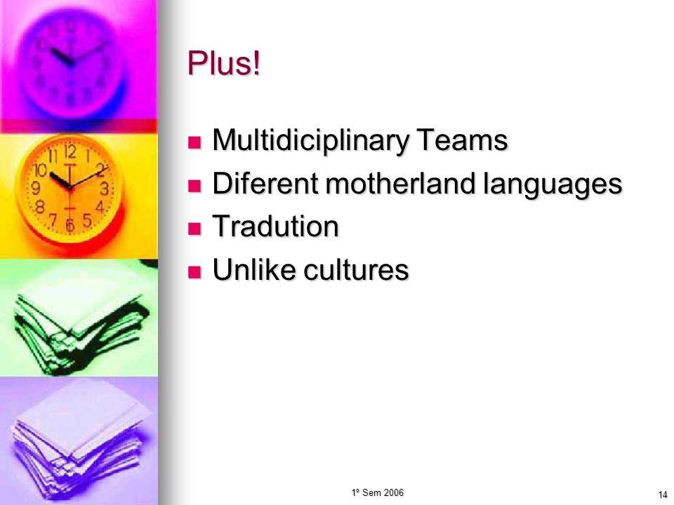 1º Sem 2006 14 Plus! Multidiciplinary Teams Multidiciplinary Teams Diferent motherland languages Diferent motherland languages Tradution Tradution Unl