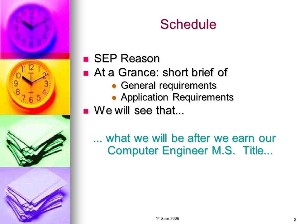 1º Sem 2006 2 Schedule SEP Reason SEP Reason At a Grance: short brief of At a Grance: short brief of General requirements General requirements Applica