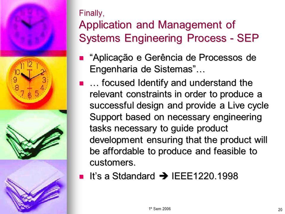 1º Sem 2006 20 Finally, Application and Management of Systems Engineering Process - SEP Aplicação e Gerência de Processos de Engenharia de Sistemas… A