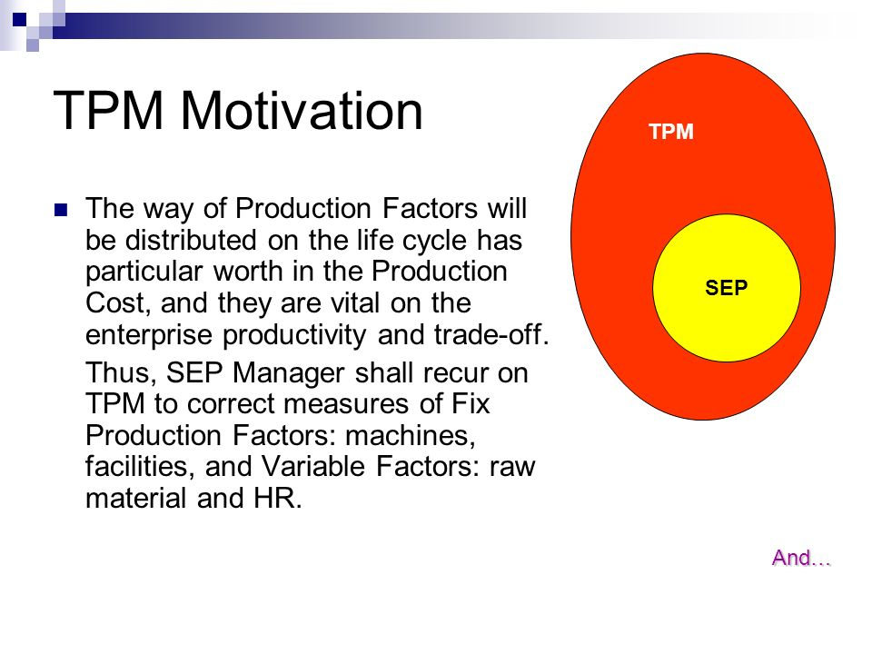 TPM Motivation The way of Production Factors will be distributed on the life cycle has particular worth in the Production Cost, and they are vital on