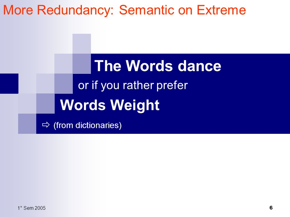 1° Sem 2005 6 The Words dance (from dictionaries) More Redundancy: Semantic on Extreme Words Weight or if you rather prefer