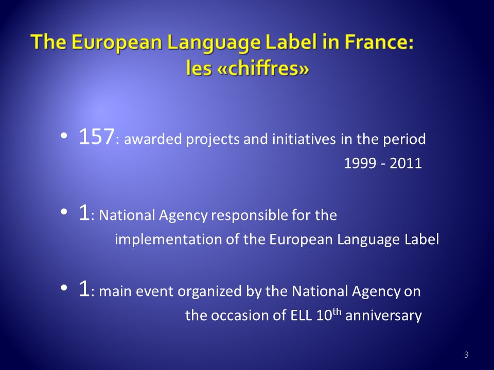 3 157 : awarded projects and initiatives in the period : National Agency responsible for the implementation of the European Language Label 1 : main event organized by the National Agency on the occasion of ELL 10 th anniversary