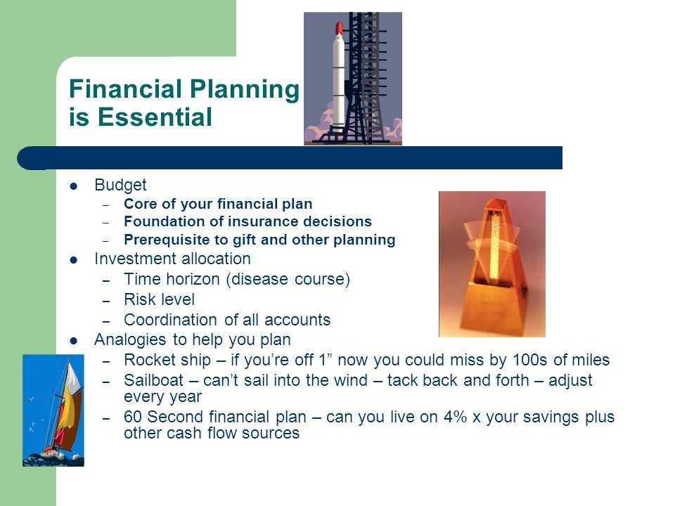 Financial Planning is Essential Budget – Core of your financial plan – Foundation of insurance decisions – Prerequisite to gift and other planning Inv