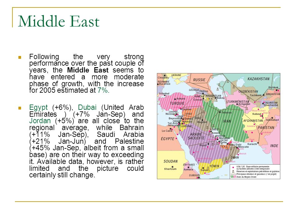 Middle East Following the very strong performance over the past couple of years, the Middle East seems to have entered a more moderate phase of growth, with the increase for 2005 estimated at 7%.