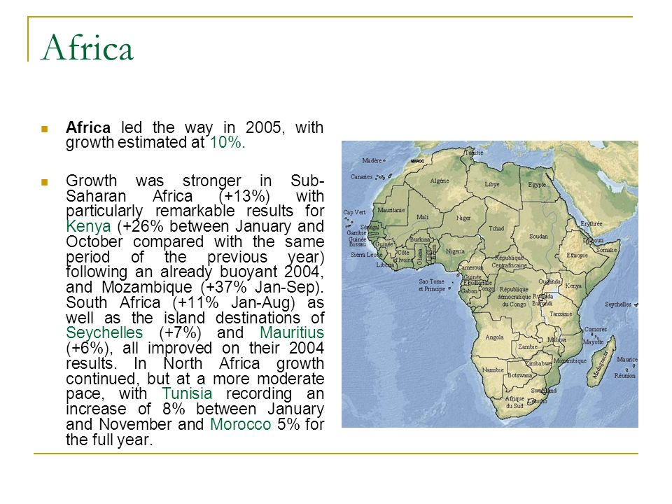 Africa Africa led the way in 2005, with growth estimated at 10%.