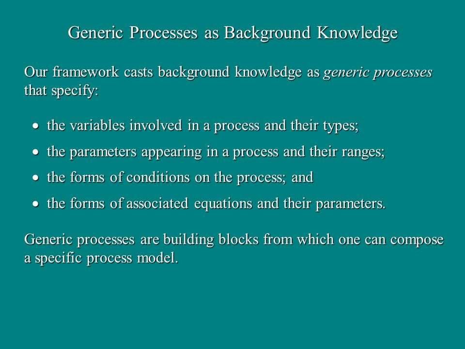 Generic Processes as Background Knowledge the variables involved in a process and their types; the variables involved in a process and their types; th