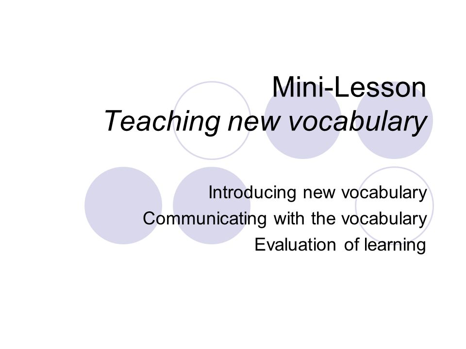 Mini-Lesson Teaching new vocabulary Introducing new vocabulary Communicating with the vocabulary Evaluation of learning