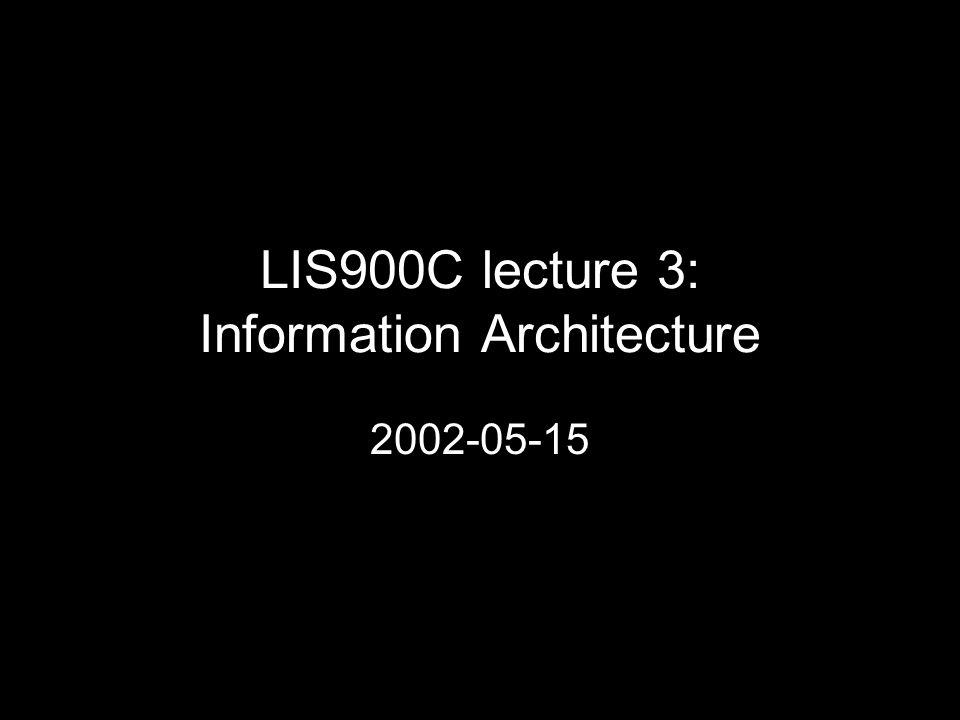 LIS900C lecture 3: Information Architecture 2002-05-15