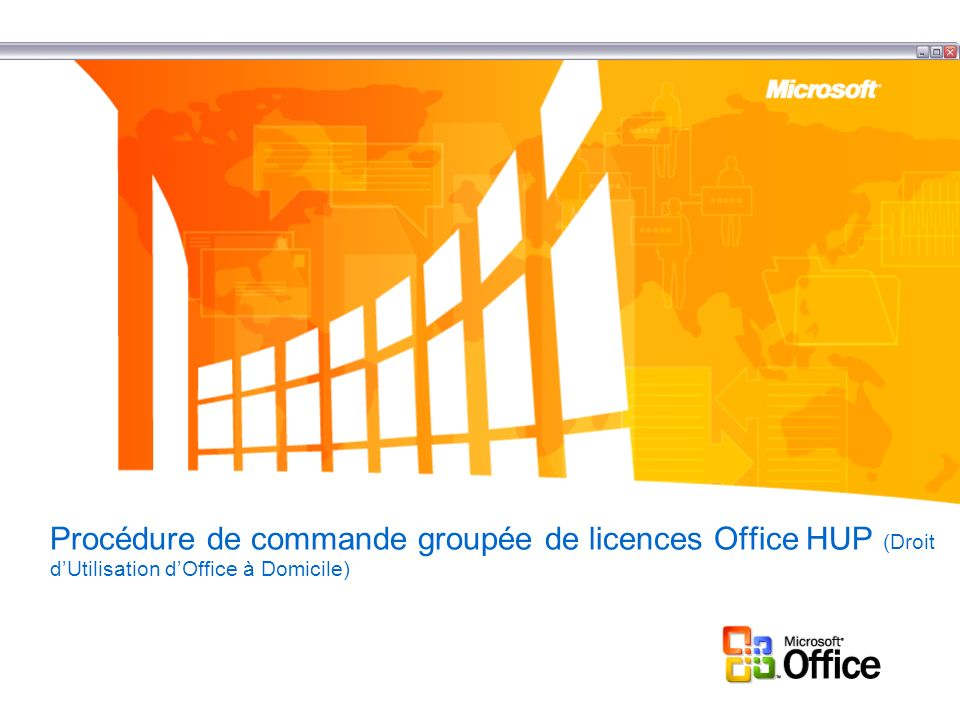 Programme HUP Descriptif : Le Programme HUP propose des produits Office en 7 langues (UK, Fr, G, SP, NL, SW, I) : Office XP professionnal, Applications Office en stand alone, publisher, infopath, FrontPage, Project (Std), Visio (Std and Pro).