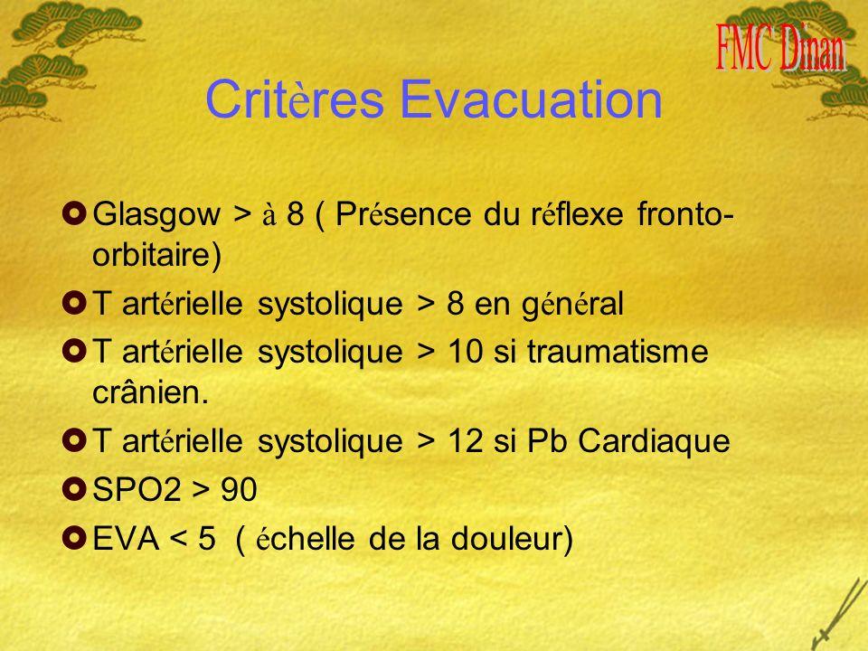 Crit è res Evacuation Glasgow > à 8 ( Pr é sence du r é flexe fronto- orbitaire) T art é rielle systolique > 8 en g é n é ral T art é rielle systolique > 10 si traumatisme crânien.