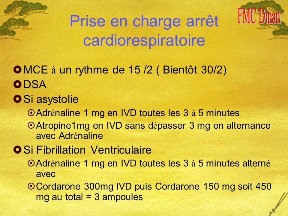 Prise en charge arrêt cardiorespiratoire MCE à un rythme de 15 /2 ( Bientôt 30/2) DSA Si asystolie Adr é naline 1 mg en IVD toutes les 3 à 5 minutes Atropine1mg en IVD sans d é passer 3 mg en alternance avec Adr é naline Si Fibrillation Ventriculaire Adr é naline 1 mg en IVD toutes les 3 à 5 minutes altern é avec Cordarone 300mg IVD puis Cordarone 150 mg soit 450 mg au total = 3 ampoules
