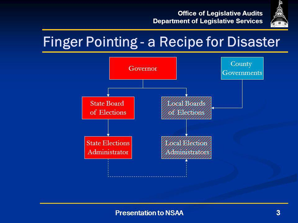 Office of Legislative Audits Department of Legislative Services 3Presentation to NSAA Finger Pointing - a Recipe for Disaster Governor Local Boards of Elections State Elections Administrator County Governments State Board of Elections Local Election Administrators