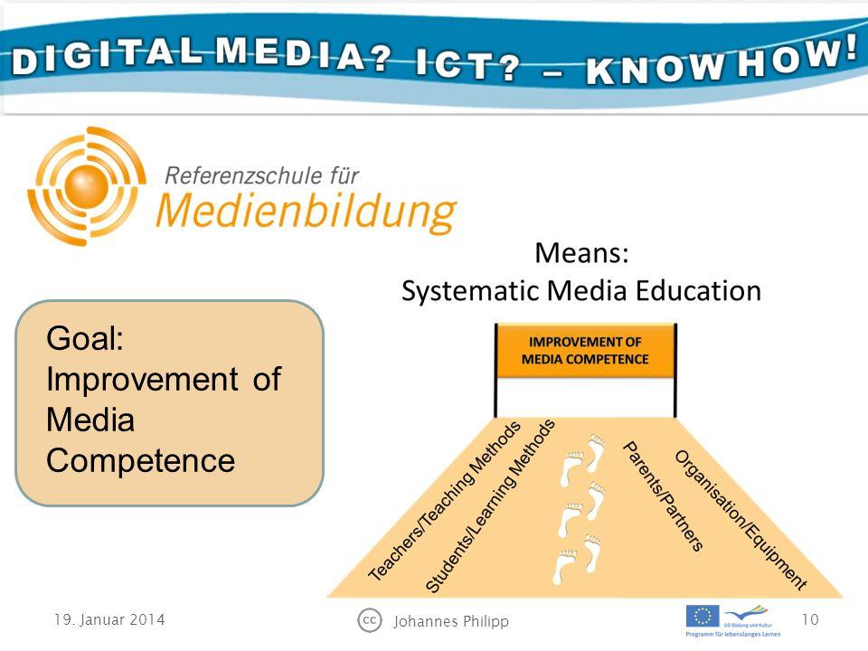 19. Januar 2014 Johannes Philipp 10 Goal: Improvement of Media Competence