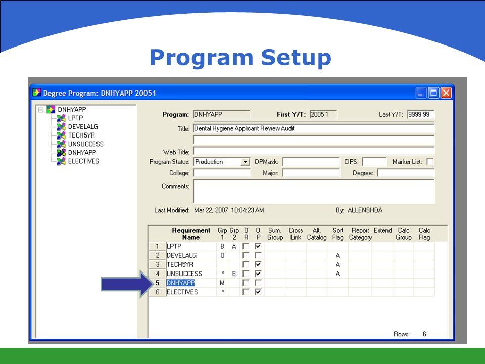 Program Setup