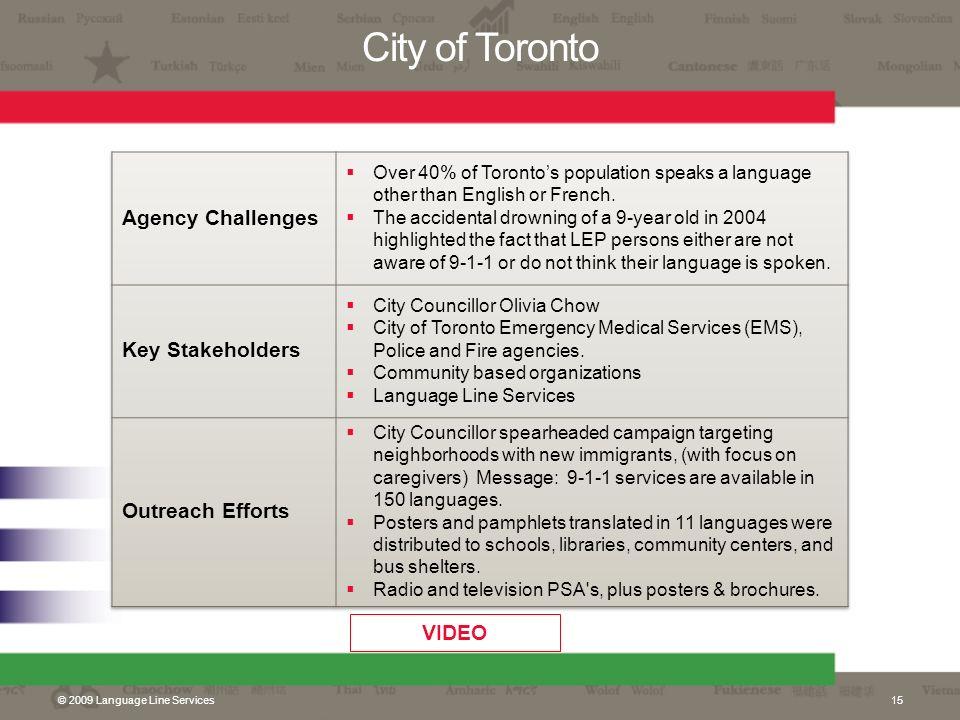 City of Toronto © 2009 Language Line Services15 VIDEO