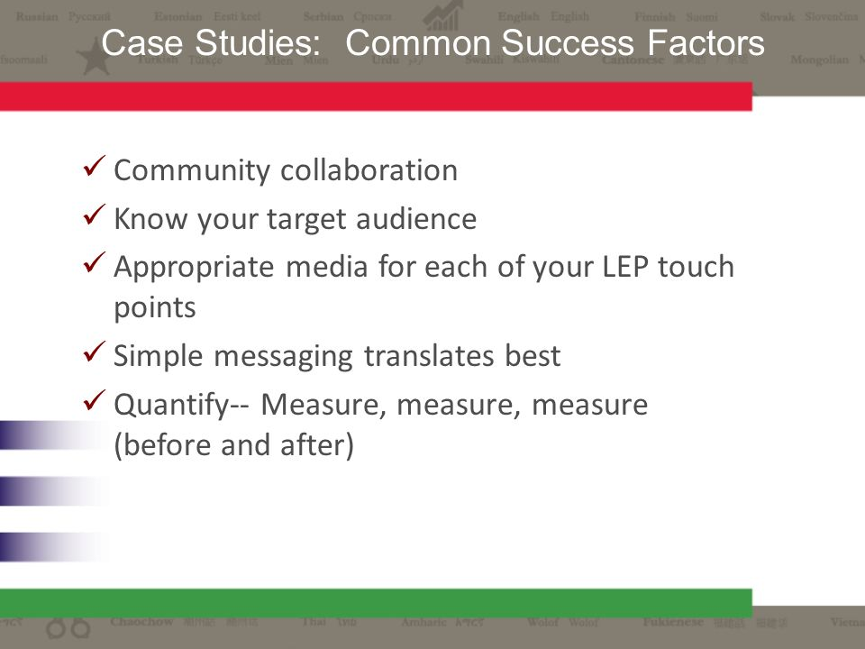 Community collaboration Know your target audience Appropriate media for each of your LEP touch points Simple messaging translates best Quantify-- Meas