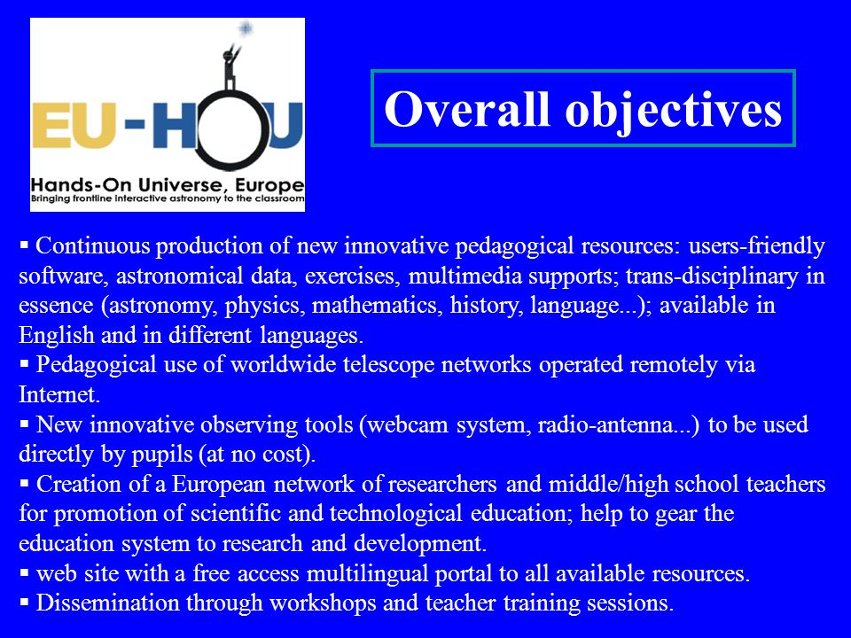 Continuous production of new innovative pedagogical resources: users-friendly software, astronomical data, exercises, multimedia supports; trans-disci