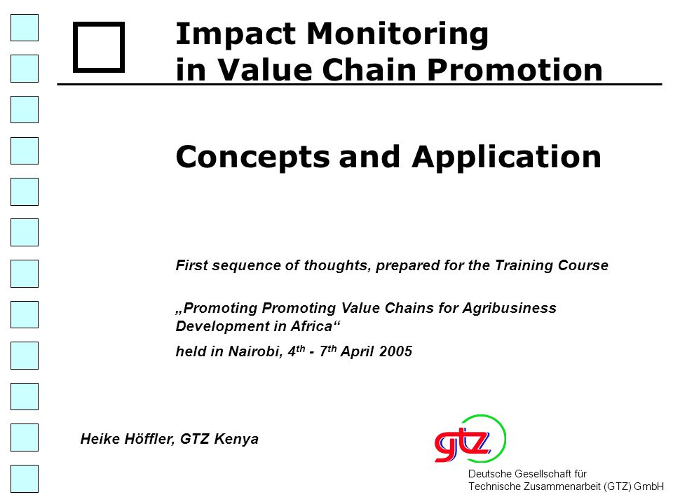 32 Defining the Scope of Influence (II) Chain promotion at all stages 2 Specific Input providers Primary producers Traders Final Con- sumers Logistics centres, Industry Specific Inputs Trans- formation TradeConsumptionProduction Heike Höffler Kenya