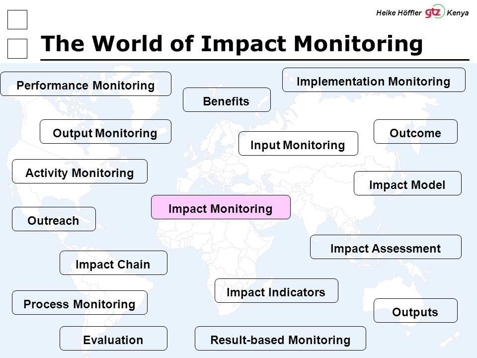 6 The World of Impact Monitoring Impact ChainImpact ModelImpact IndicatorsOutputsOutcomeOutreachBenefitsPerformance MonitoringInput MonitoringActivity MonitoringOutput MonitoringImplementation MonitoringImpact MonitoringImpact AssessmentProcess MonitoringResult-based MonitoringEvaluation Heike Höffler Kenya