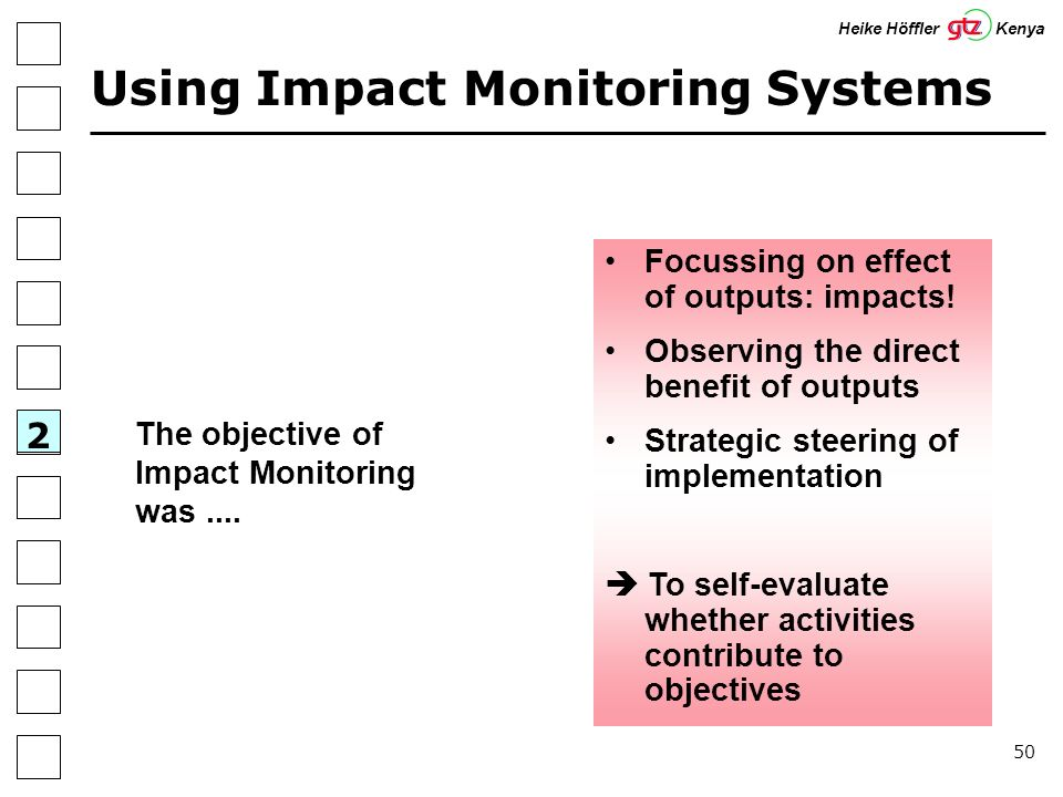 50 Using Impact Monitoring Systems 2 Heike Höffler Kenya The objective of Impact Monitoring was....