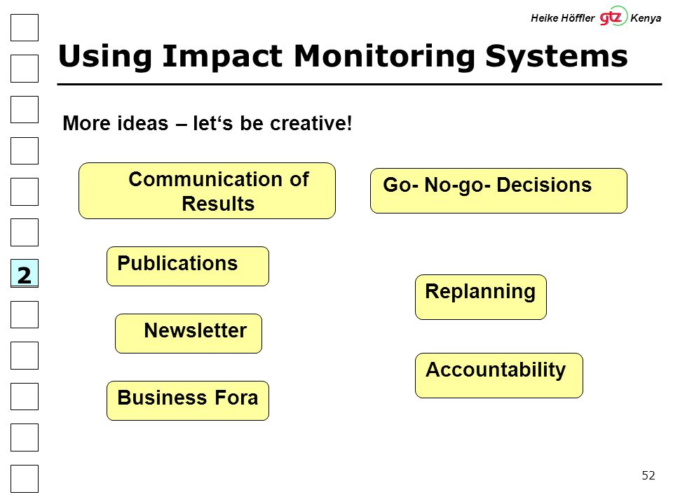 52 Using Impact Monitoring Systems 2 Heike Höffler Kenya More ideas – lets be creative! Replanning Communication of Results Newsletter Business Fora P