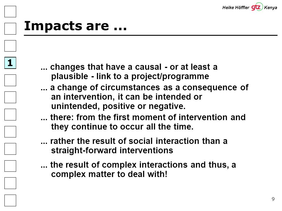 20 Theory: Six Steps (Herweg/Steiner) Step 1:Involvement of Stakeholders and Information Management Step 2: Review of Problem Analysis Step 3:Formulation of Impact Hypotheses Step 4:Selection of impact Indicators Step 5:Development and Application of Impact Monitoring Methods Step 6:Impact Assessment & Follow-up 1 Heike Höffler Kenya Herweg, K & Steiner, K.