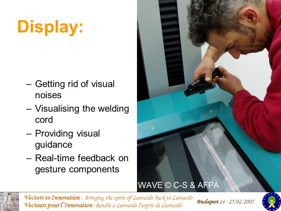 Vectors to Innovation : Bringing the spirit of Leonardo back to Leonardo Vecteurs pour lInnovation : Rendre à Leonardo lesprit de Leonardo Budapest 24 - 25/02/2005 Display: –Getting rid of visual noises –Visualising the welding cord –Providing visual guidance –Real-time feedback on gesture components