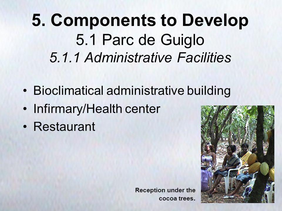 5. Components to Develop 5.1 Parc de Guiglo 5.1.1 Administrative Facilities Bioclimatical administrative building Infirmary/Health center Restaurant R