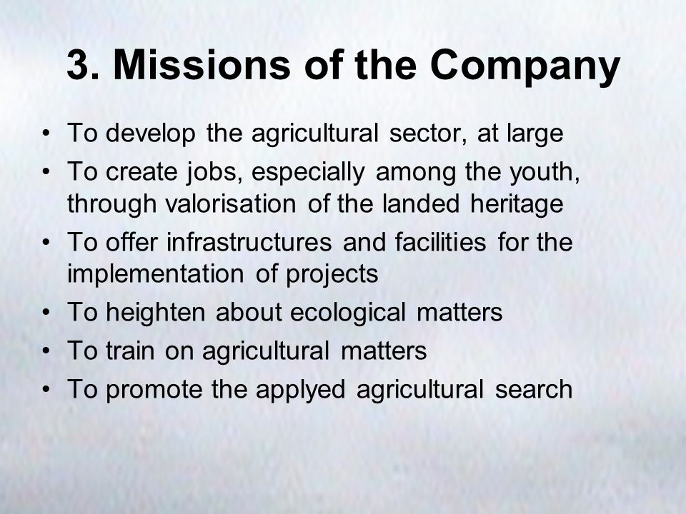 3. Missions of the Company To develop the agricultural sector, at large To create jobs, especially among the youth, through valorisation of the landed