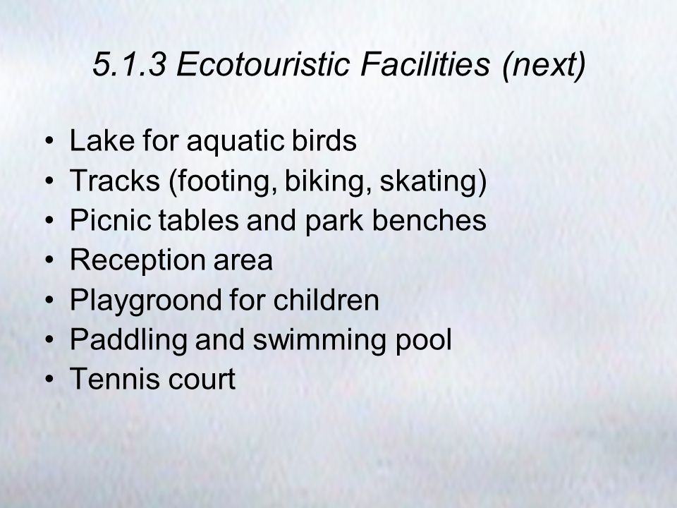 5.1.3 Ecotouristic Facilities (next) Lake for aquatic birds Tracks (footing, biking, skating) Picnic tables and park benches Reception area Playgroond for children Paddling and swimming pool Tennis court