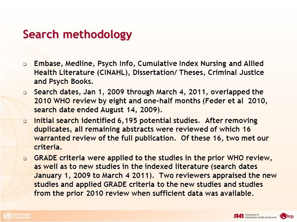 Search methodology Embase, Medline, Psych Info, Cumulative Index Nursing and Allied Health Literature (CINAHL), Dissertation/ Theses, Criminal Justice